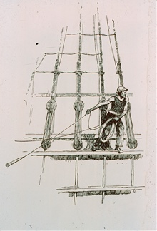 Sailor sounding from merchantman - Nineteenth Century.Sketch by Gordon Grant