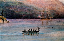 Oldest known sketch of Coast Survey sounding operations.Watercolor by James Madison Alden - 1857.Coast Survey Brig FAUNTLEROY in background