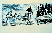 Alaska, 1898.  Sketch by McFarland.Skiff hydro sounding operations