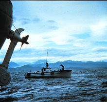 Hydrographic launch off SURVEYOR near Kalgin Island, Cook Inlet