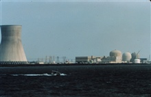 Jensen Launch on line dwarfed by nuclear power plant cooling tower.Launch off of PEIRCE