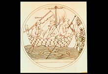 St. Brendan striking out into the Atlantic - about 6th Century A.D.St. Brendan checking depths with his sounding pole