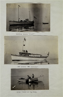 Wiredrag vessels in Massachusetts Bay party.Guide launch pilot; end launch Two Brothers; large tender at buoy.Wiredrag party of J. H. Hawley