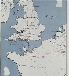 Route of 17th Field Artillery Observation Battalion through England and France.17th FAOB landed one day after D-Day.Engaged at Falaise Gap in France, marched through Paris