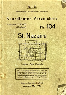 Title page of captured German geodetic control book for St. Nazaire.