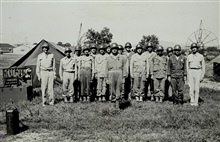 Commander Maurice A. Hecht at left - first instructor for radar ranging class.Observation battalion training in use of radar to determine enemy gun location