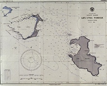 Chart of Lifa-Uvea Passage produced on board the PATHFINDER.Printed on board in September 1944