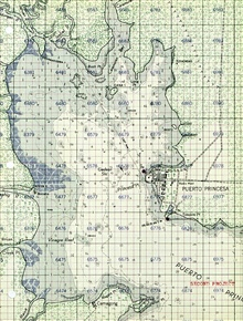 C&GS; Puerto Princesa, Philippines chart with military grid.Philippine Islands covered by C&GS; charts prior to war.Charts helped U.S. forces transport men and equipment.Offensive operations planned using C&GS; charts as well
