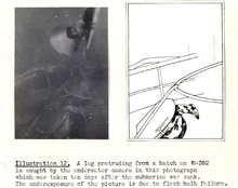 Photo of Nazi submariner foot (?) trying to get out of submarine escape hatch.Office of Strategic Services project to find sunken vessels with new technology. Ray Tryon and John O. Phillips worked off USCGC GENTIAN in 1944.Example of early surface co