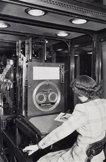 Woman professional operating tide prediction machine.World War II opened up many opportunities for women.Over 1/2 of males with C&GS; joined the Armed Services