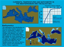 Currents and Temperature - Atlantic waters enter the Mediterranean through theStraits of Gibraltar and flow east along the North African coast, becoming moresaline as evaporation exceeds freshwater inflows. Thus, the Mediterranean is more saline than