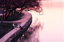 Far from the politics and the madding crowd, a lone fisherman enjoys a sunriseat the Tidal Basin in Washington, D. C.