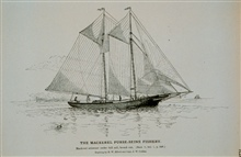 Mackerel schooner under full sail, bound outDrawing by H. W. Elliott and Capt. J. W. Collins
