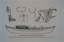 Seine boat; purse davit with blocks; oar-restsPurse weight and purse blocks; bow fittings