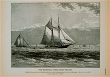 Mackerel schooner cruising in Massachusetts BayLookout on foretop on the watch for schoolsFrom photograph by T.W. Smillie