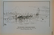 Mackerel seine-boat and crew paying out the seineDrawing by H. W. Elliott and Capt. J. W. Collins