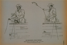 Jigging mackerel over the vessel's railDrawing by H. W. Elliott and Capt. J. W. Collins