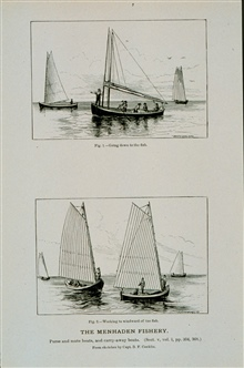 Menhaden purse and mate boats.  Fig. 1.  Going down to the fishFig. 2.  Working to the windward of the fishFrom sketch by Capt. B. F. Conklin