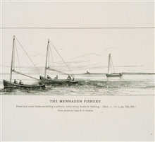 Purse and mate boats encircling a school; carry-away boats in waiting.From a sketch by Capt. B.F. Conklin.