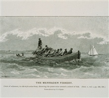 Crew of schooner, in old-style seine-boat, throwing the purse-seineFrom sketch by  J. S. Ryder.