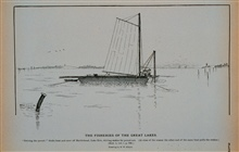 Driving the pound.  Stake-boat and crew off Marblehead, Lake Erie.Driving stakes for pound-net.At close of season the other end of the same boat pulls the stakesDrawing by H. W. Elliott