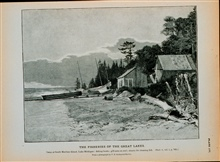 Camp at South Manitou Island, Lake MichiganFishing boats; gill-nets on reel; shanty for cleaning fishFrom a photograph