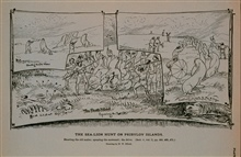 Shooting the old males; spearing the surround; the driveDrawing by H. W. Elliott, 1872