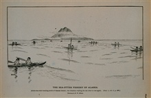 Aleuts sea-otter hunting south of Saanak IslandThe bidarkies waiting for the otter to rise againDrawing by H. W. Elliott