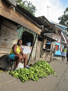 Sao Tomean Women Selling Bananas at Local Market