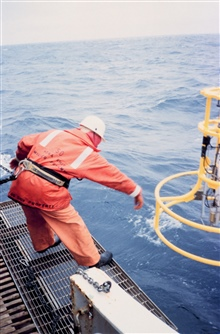 Retrieving Conductivity-Temperature-Depth measuring instrument after a lowering.