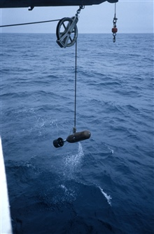 Our first towed acoustic body (AKA the bomb) being deployed off theNOAA Ship Surveyor.