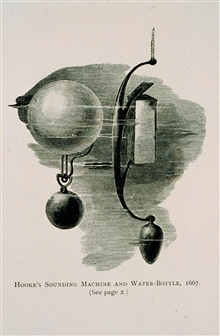 Sounding machine devised by Robert Hooke.Drop glass ball with weight over side.Ball disengages when weight hits bottom.Known rate of descent and ascent - can then derive depth.Never worked right.