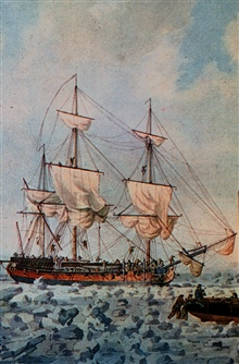 HMS RACEHORSE in pack ice - Captain Constantine Phipps.Sounded in Norwegian Sea in 683 fathoms.Brought up blue mud.First modern successful sounding on continental slope area.Not sounding in image