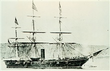 USS TUSCARORA - commanded by George Belknap.First ship to successfully use piano wire sounding machine