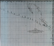 Track of USS TUSCARORA from Cape Flattery to Japan.