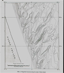 Shallow water bathymetry.Sand waves off Padre Island.Delineation possible because of widespread use of recording fathometers
