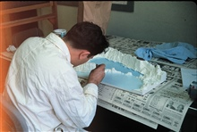 Constructing three dimensional model of Bowers Bank.C&GS; marine geologist at work.Photo #2 of sequence