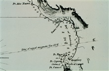 Monterey Bay Case Study - Photo #3.Detail of Monterey Bay from 1852 C&GS; survey.Note 0/120 in center of bay.Indicates that bottom was not reached with 120 fathom leadline