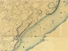 Topographic shoreline manuscript showing section of Hudson River  in thevicinity of today's Tappan Zee Bridge. Sheet produced by Hugo L. Dickins,registry No.T-132.