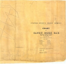 Title block of Chart of Sandy Hook Bar, sounded by Lieutenant T. R. Gedney. This survey discovered Gedney's Channel into New York Harbor helping insure itsplace as the great mercantile capital of the United States.