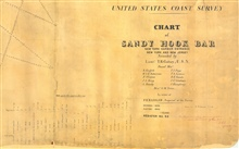 Tide diagram of Chart of Sandy Hook Bar, sounded by Lieutenant T. R. Gedney. This is one of the earliest tide records of the Coast Survey.  Meteorologicalinformation was also included showing an awareness of the effect of winds ontidal levels.
