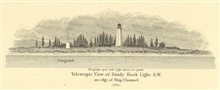 Telescopic view of Sandy Hook Light S.W. on edge of ship channel as seen in1839. Note glass panes.