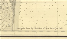 Note on SE sheet of six sheets of New York Bay and Harbor designating thatlongitudes on the chart are referred to the Meridian of New York City Hall.