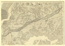 Sheet no. 6, the NE sheet of six sheets of New York Bay and Harbor.  This sheetincludes eastern Manhattan, the East River, Brooklyn, Jamaica Bay, andwestern Long Island.  The topographic detail on this sheet is amazing.