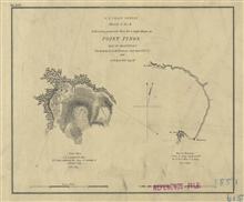 Sketch J, No. 4 for 1851 indicating proposed sites for a lighthouses onPoint Pinos, Bay of Monterey.  Outline of Monterey Bay by Lt. Henry A. Wisefrom a Navy survey conducted in 1847.  The topography of Pt. Pinos was by Sub-Assistant A.M. Harrison.