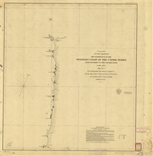 Reconnaissance of the Western Coast from Monterey to the Columbia River. SheetNo. 3 of 3. This chart extends from the Umquah (Umpqua) River to theColumbia River Entrance. Third edition.
