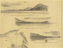 3 views from the chart of Reconnaissance of the Western Coast from SanFrancisco to San Diego.  View of Pt. Conception bearing W. by S. 3 miles; Viewof Pt. Conception bearing S.E. by E. 12 miles; and View of Pt. Duma bearing East 10 miles.
