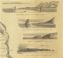 4 views from the chart of Reconnaissance of the Western Coast from SanFrancisco to San Diego.  View of Piedras Blancas; View of Moro Rock, EsterosBay; View of Pt. Sal; and View of Pt. Arguilla.