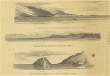3 views from the chart of Reconnaissance of the Western Coast from SanFrancisco to San Diego.  View of Pt. Ano Nuevo; View of Pt. Pinos; and View ofPt. Sur bearing N.N.W. 1/4W. 4 miles.