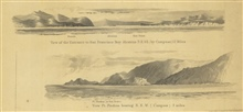 2 views from the chart of Reconnaissance of the Western Coast from SanFrancisco to San Diego.  View of the Entrance to San Francisco Bay showingAlcatraz and View of Pt. Piedras bearingN.N.W. 3 miles.